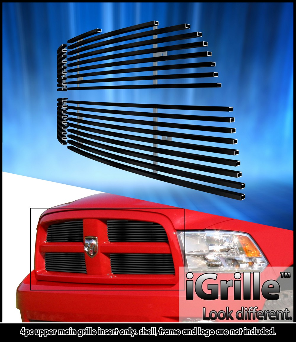 egrille fits 2009 2012 dodge ram 1500 black stainless billet grille grill insert ebay. Black Bedroom Furniture Sets. Home Design Ideas