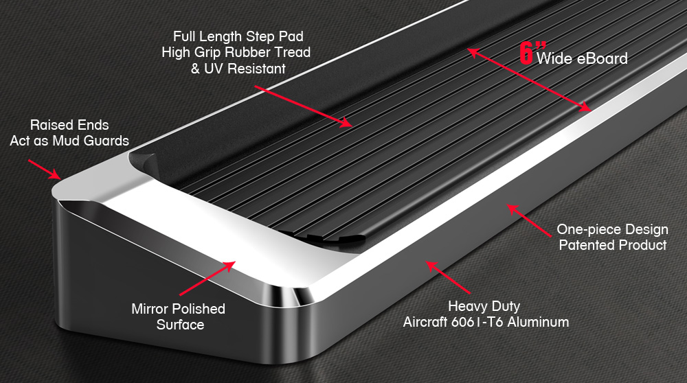 "eBoard Running Boards Aluminum 6"" Fits 2003-2008 Honda ..."