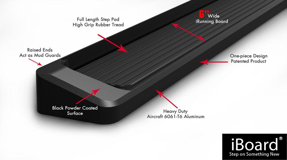 "6/"" Black  Running Boards For 1999-2004 Jeep Grand Cherokee Sport Utility 4-Door"