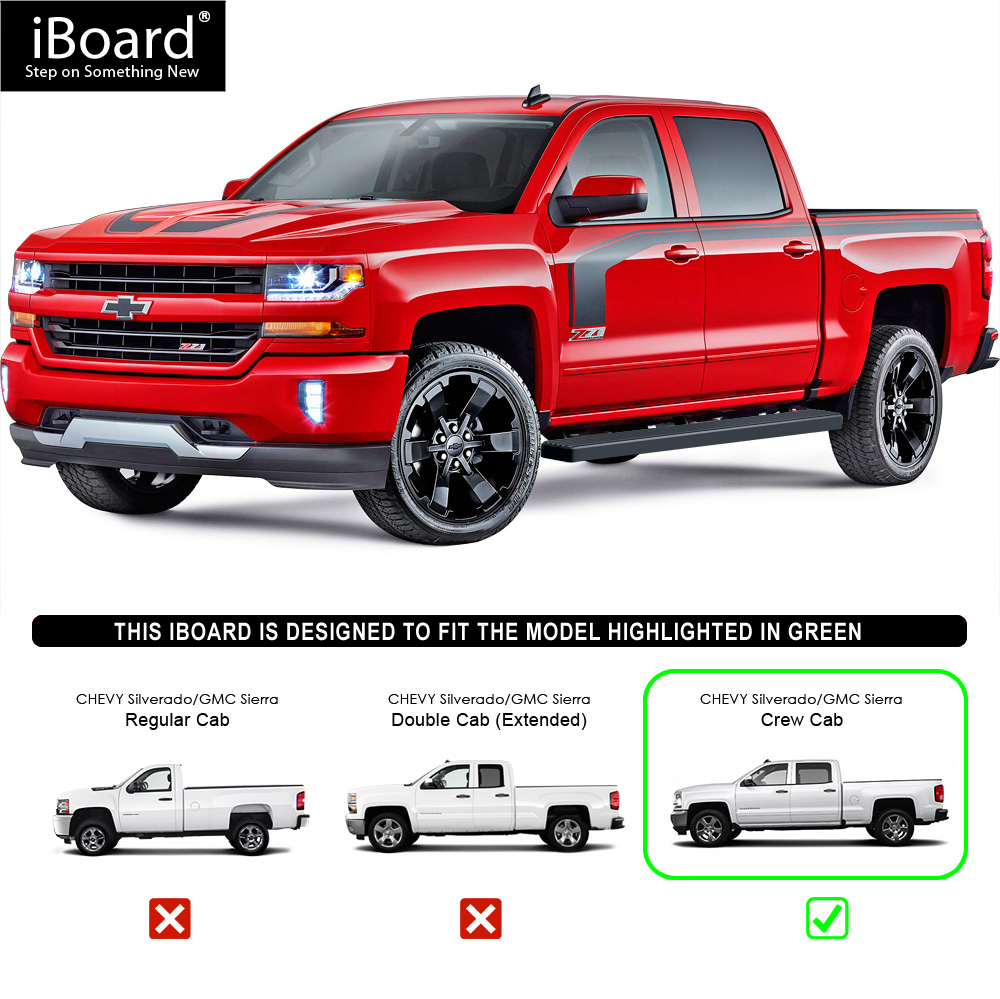 "Running Boards Black 5"" Fit 2007-2018 Chevy Silverado"