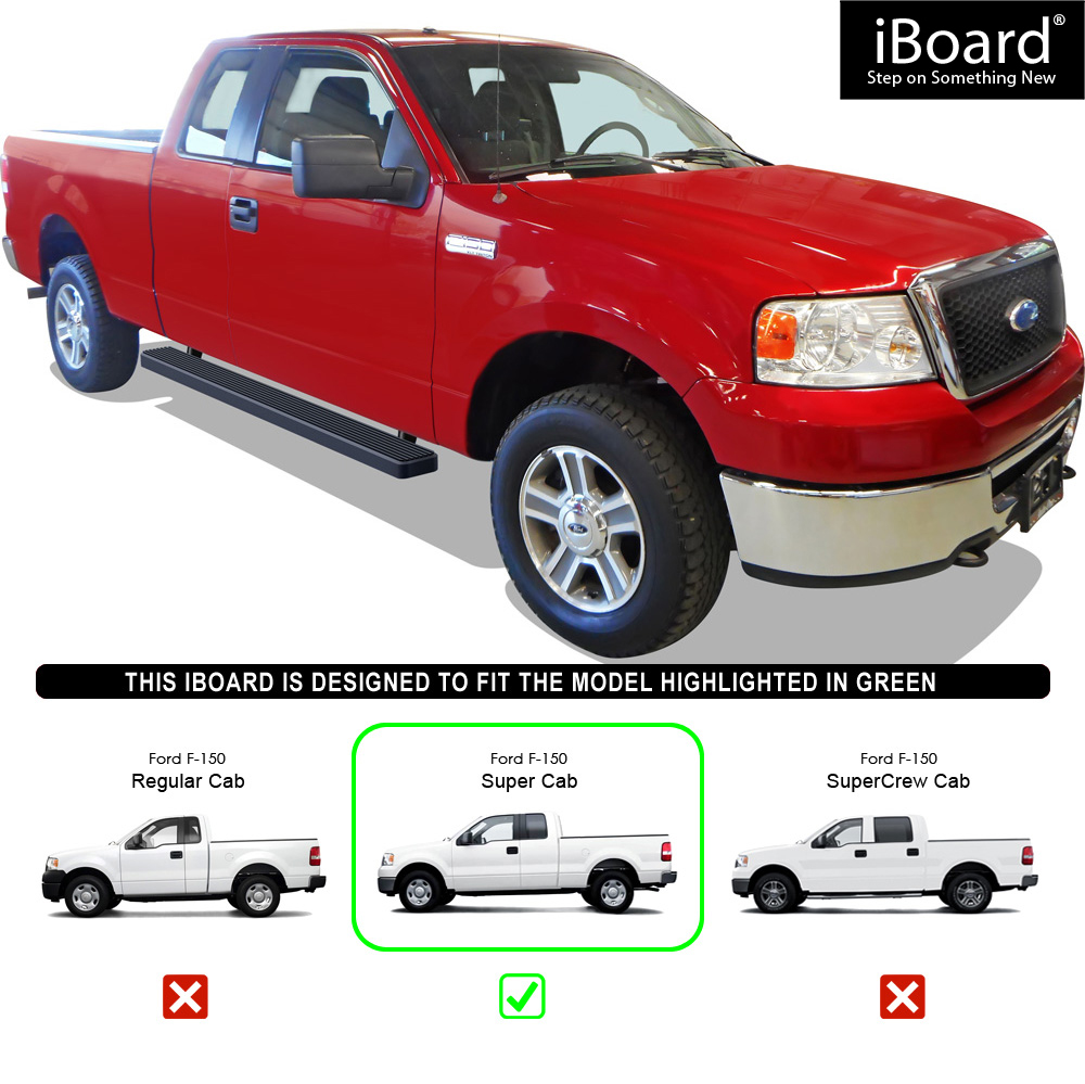 5 Black Eboard Running Boards For 04 08 Ford F150 Super Cab Excl 2004 F 150 Xl Supercab 034